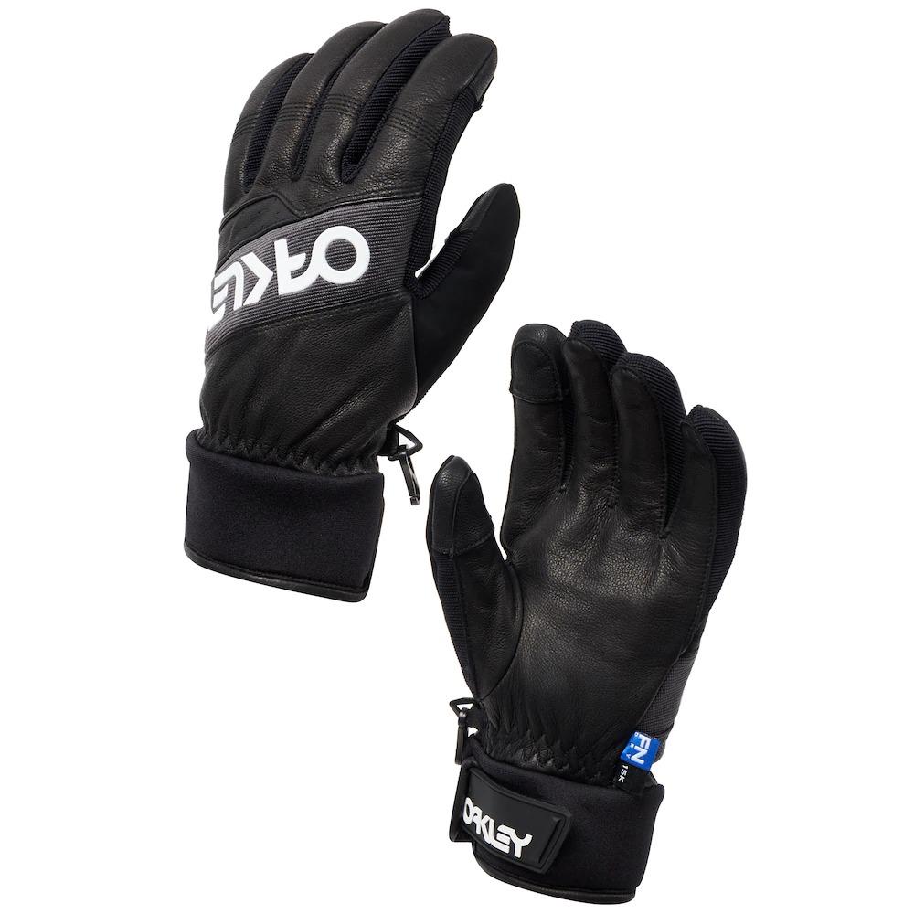 black Oakley winter gloves with white logo
