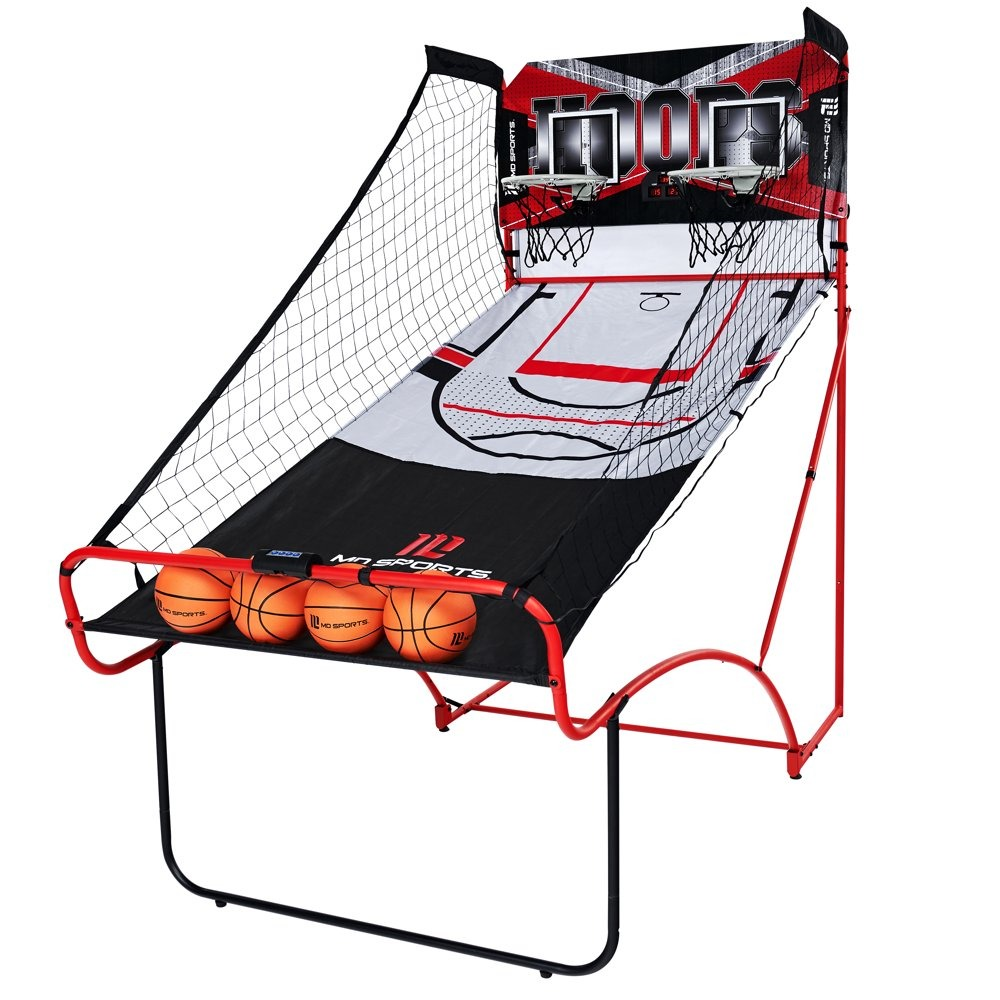 basketball folding arcade game with red and black trimming