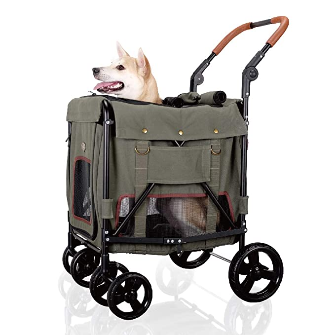 green canvas dog stroller with dog