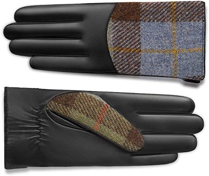 black leather gloves with blue and green plaid