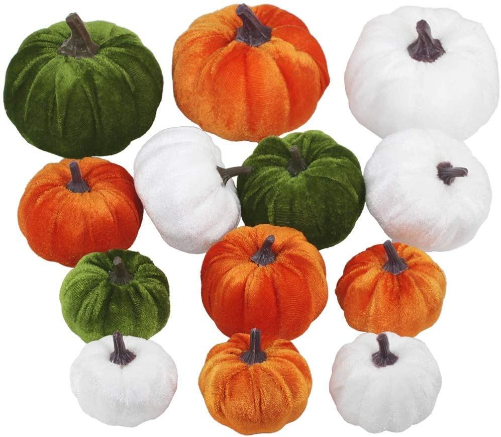 thanksgiving decorations - assorted green, orange and white velvet mini pumpkins