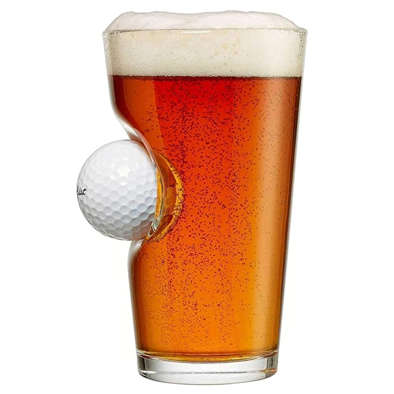 beer glass with golf ball