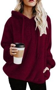 women's fuzzy sherpa hoodie, best women's sweatshirt