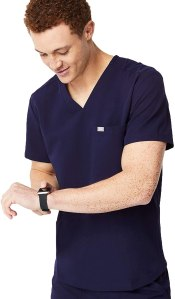 FIGS Chisec Three-Pocket Scrub Top, best men's scrubs