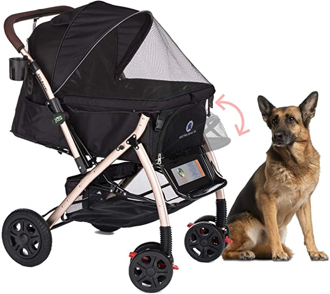 Heavy duty pet stroller with dog