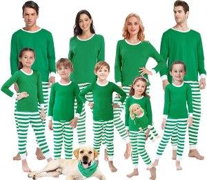 green striped Christmas pajamas, matching christmas pajamas