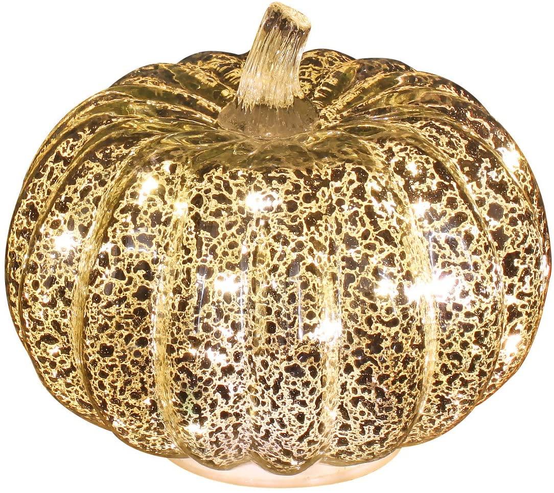 thanksgiving decoration - glowing gold artificial mercury glass pumpkin