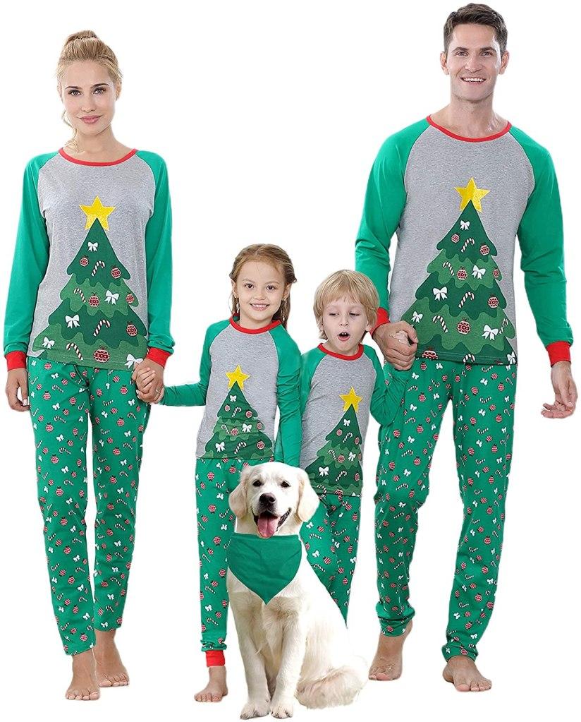 Benaive Matching Family Christmas Pajamas