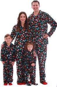 Christmas tree lights pajamas, matching Christmas pajamas