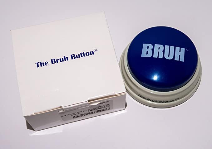 blue buzzer button with bruh text