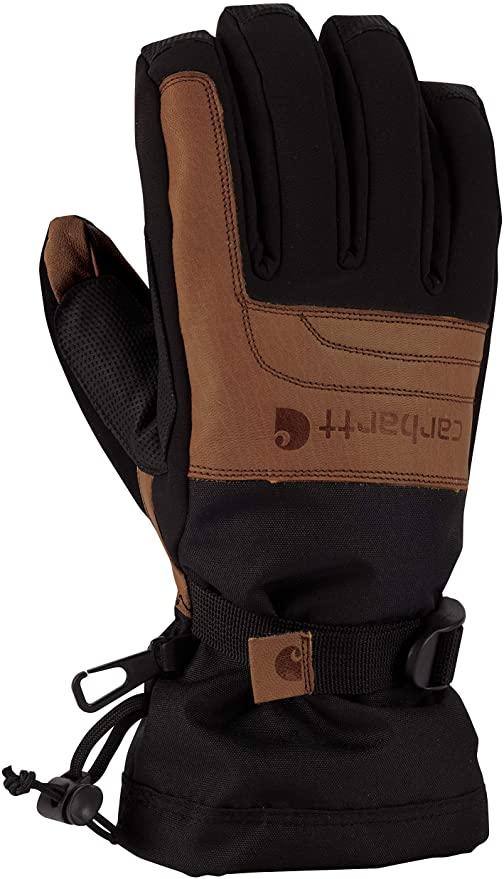 black winter work gloves with brown carhartt logo