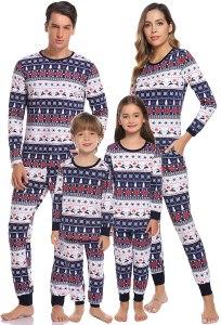 deer pattern Christmas pajamas, matching Christmas pajamas