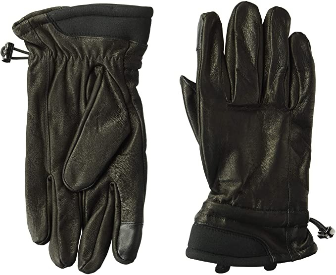 black leather gloves with elastic wristband