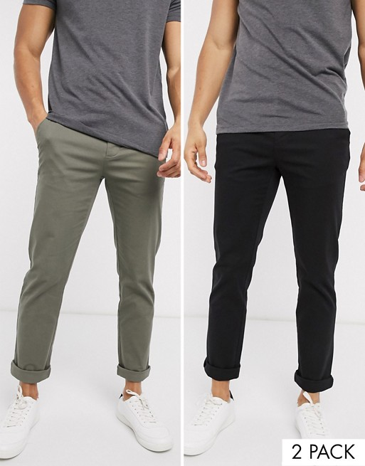 Asos design 2 pack chino khaki pants