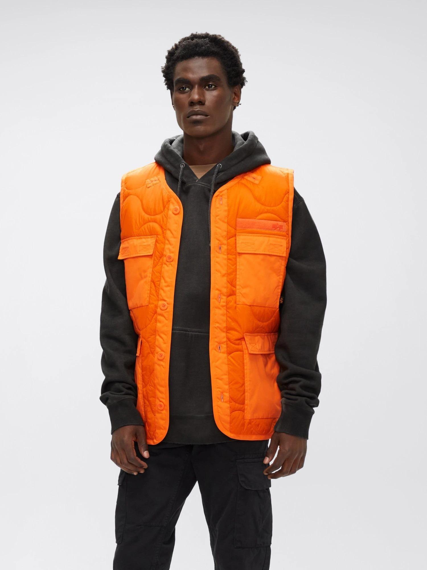 orange four pocket vest from alpha industries