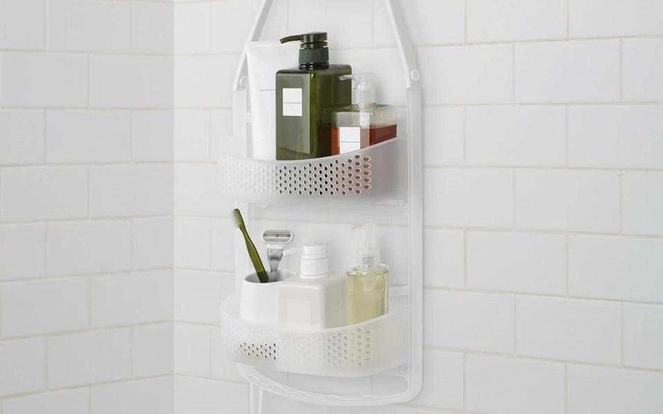 AmazonBasics shower caddy hangs under shower