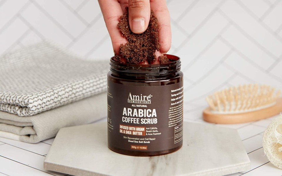 A jar of Amire Coffee Scrub