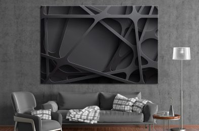 ArtTeamCanvas-3D-Black-Abstract-Wall-Decor