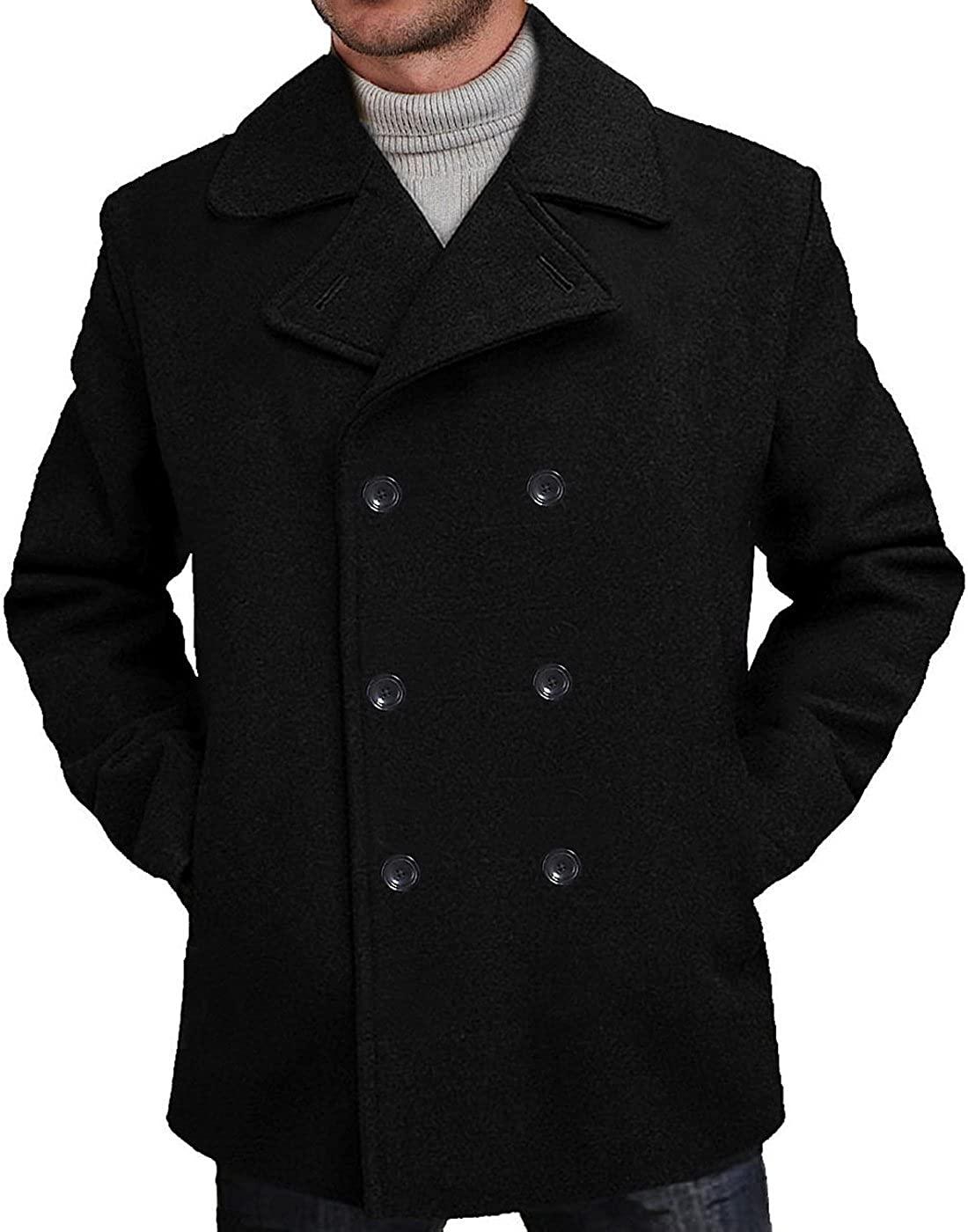 BGSD Men's Classic Wool Blend Pea Coat