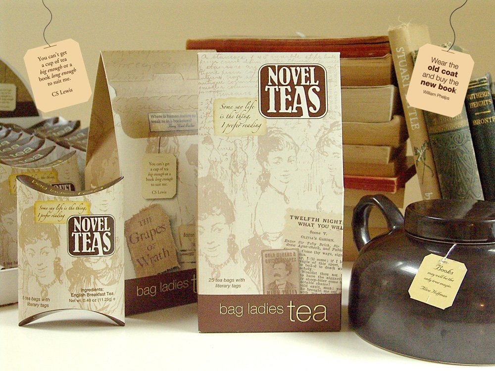 bag ladies bag of novel quote tea bags, best gifts for book lovers