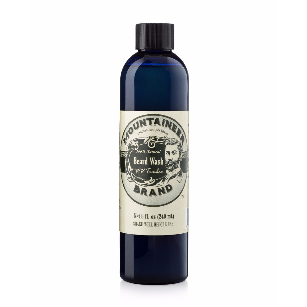 A blue bottle of Mountaineer Brand Beard Wash in Timber scent