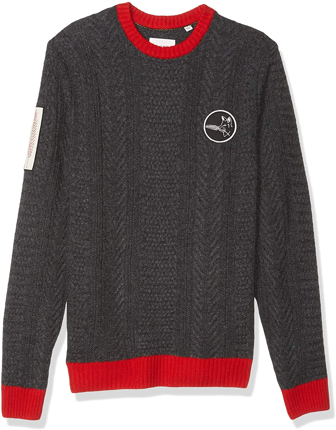 billy reid cashmere sweater - Billy Reid Men's Cashmere Cable Knit Crewneck Sweater with Patches