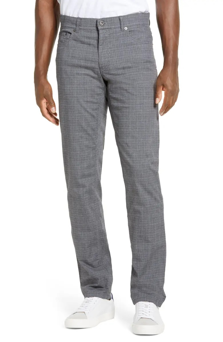 brax cooper black and white houndstooth 5 pocket chino khaki pants