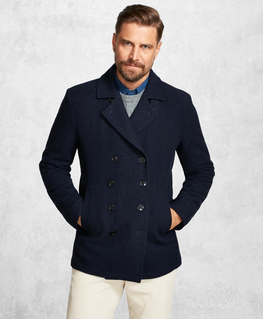 Brooks Brothers navy wool peacoat