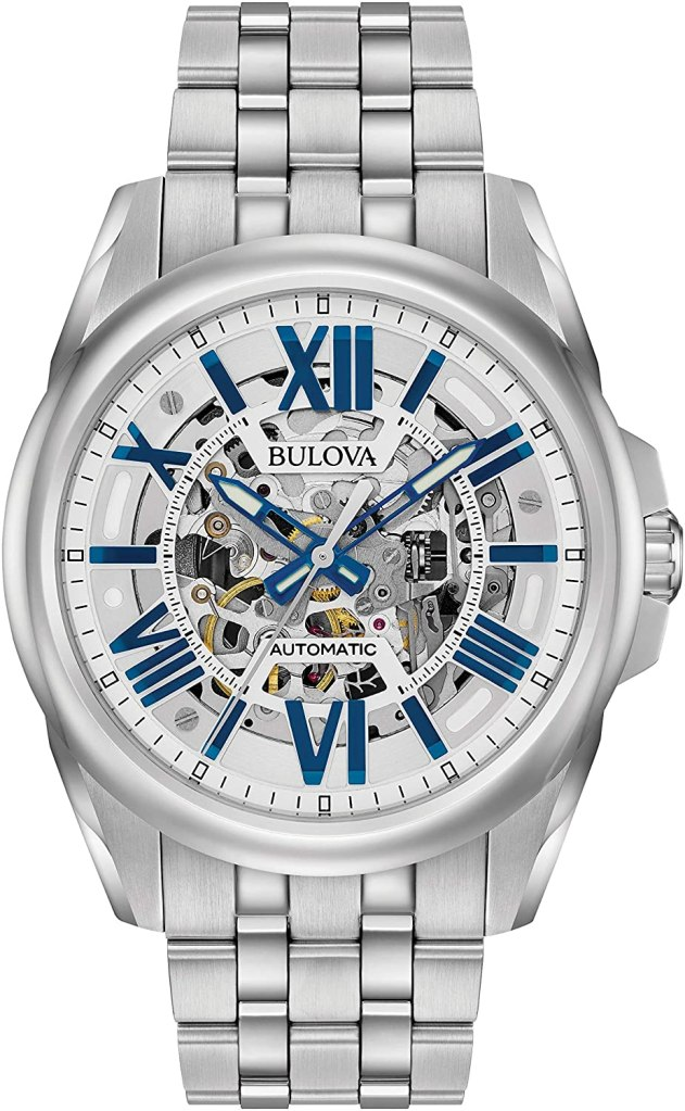 best skeleton watches - Bulova Sutton Blue and silver skeleton watch