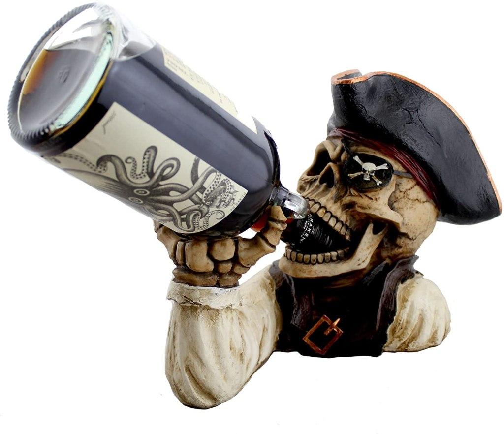 "best gifts under $50 - DWK ""Booty of the Vine"" Skull Pirate Bottle Holder"
