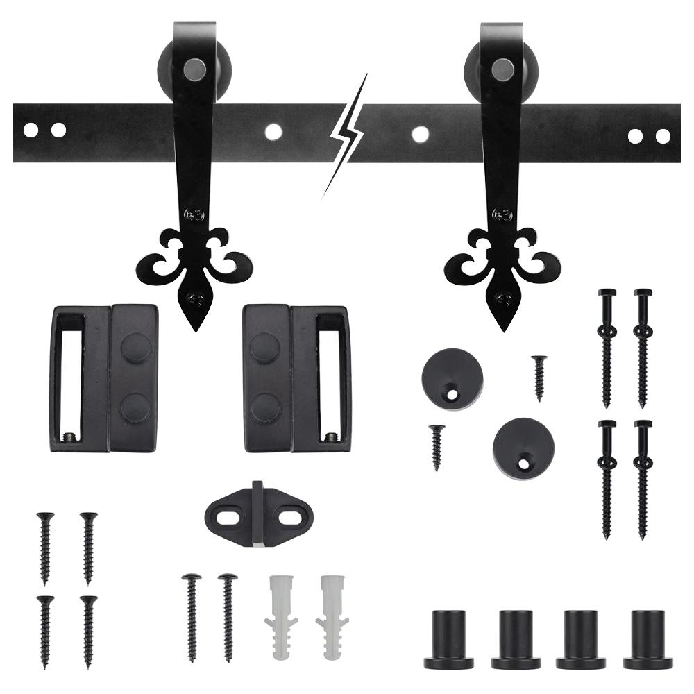 Dark Oil-Rubbed Bronze Fleur-De-Lis Sliding Barn Door Track and Hardware Kit