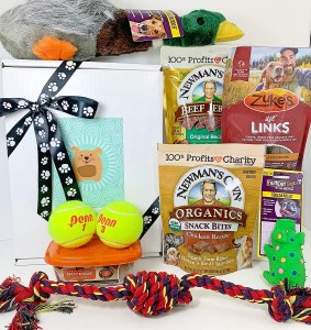 deluxe dog gift basket, gifts for dog lovers