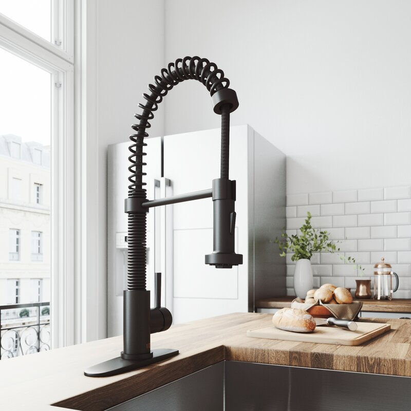 Edison Pull Down Single Handle Kitchen Faucet with Deck Plate by Vigo