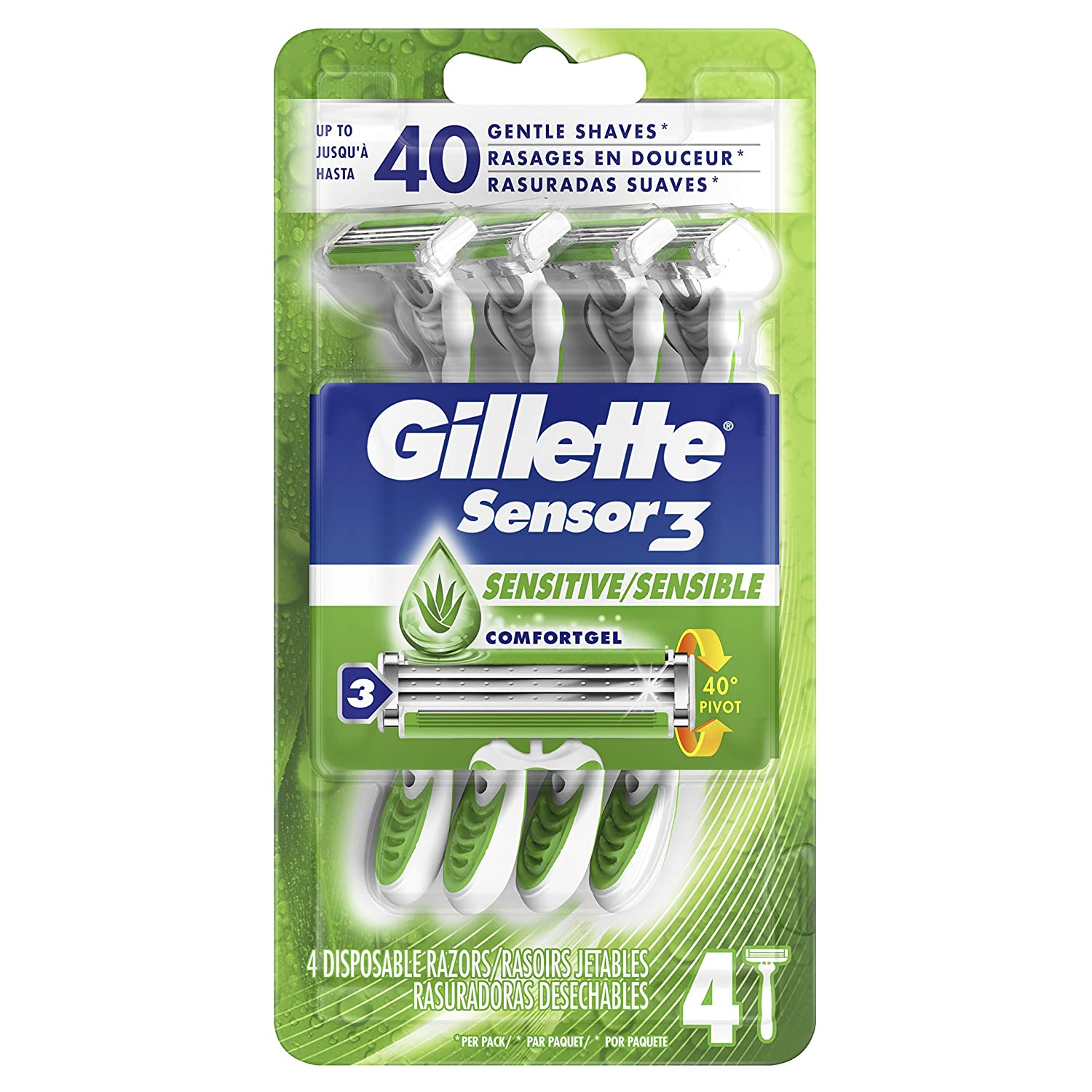 Gillette Sensor3 Disposable Razor for Sensitive Skin, pack of four