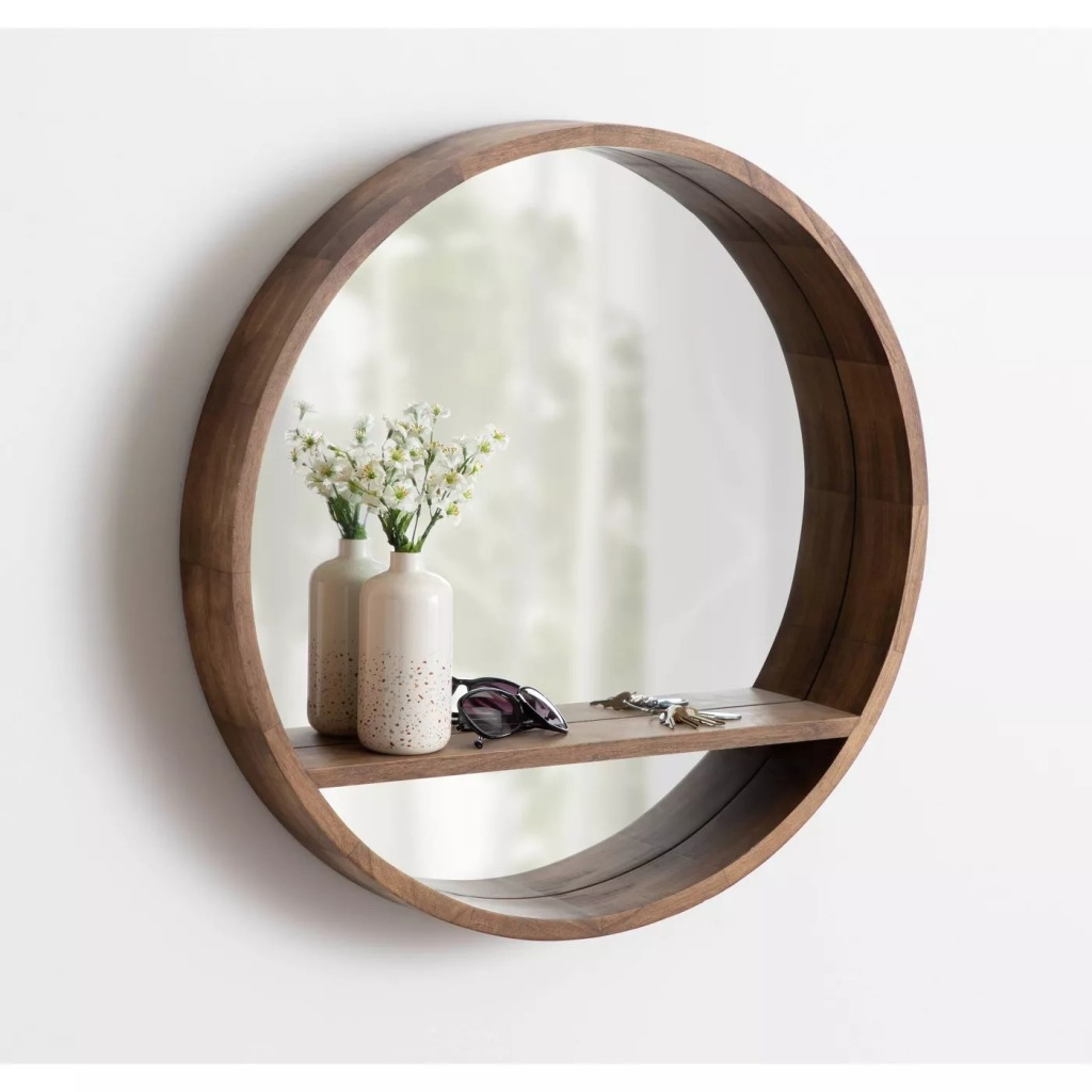 Hutton Round Mirror with Shelf by Kate and Laurel