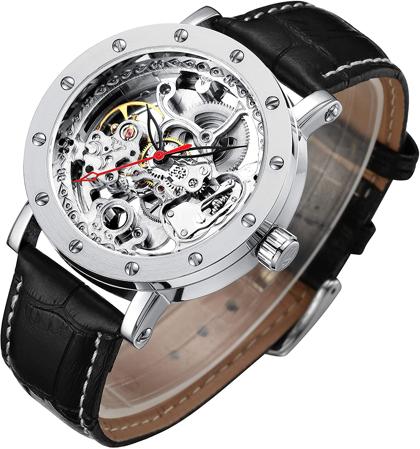 IK Colouring Mechanical Stainless Steel Skeleton Watch