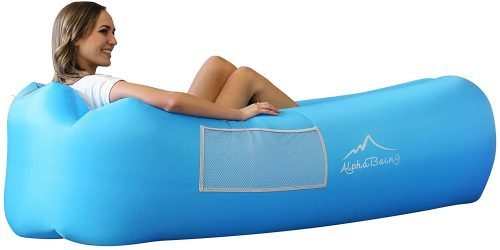 blue inflatable sofa