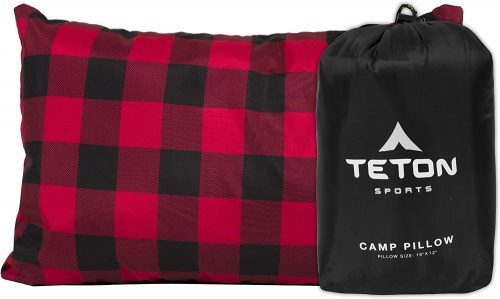 red plaid travel pillow