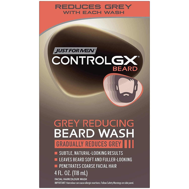 A box of Just For Men Control GX Grey-Reducing Beard Shampoo