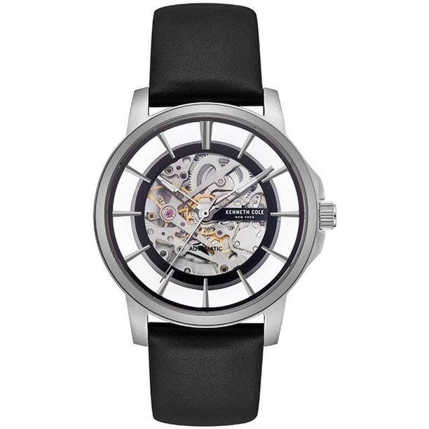 Kenneth Cole black and silver skeleton watch