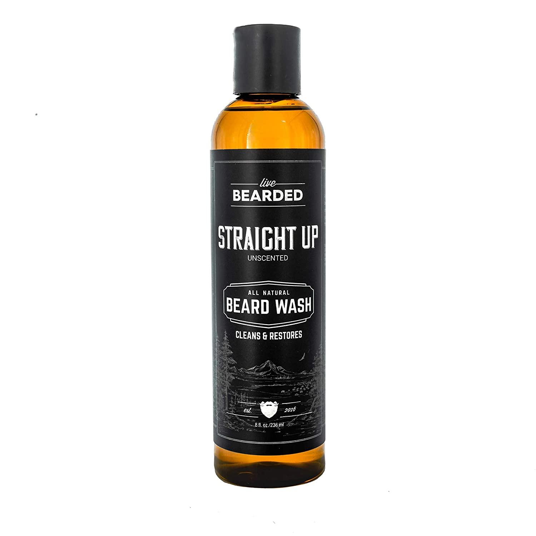 A bottle of Live Beard Natural Unscented Beard Wash