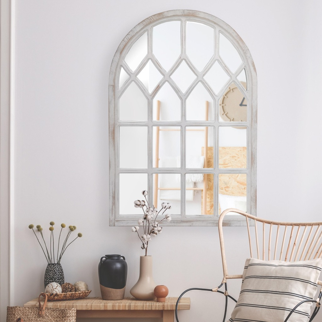 Medium Arched White Windowpane Antiqued Classic Accent Mirror