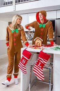 gingerbread jumpsuit, matching Christmas pajamas