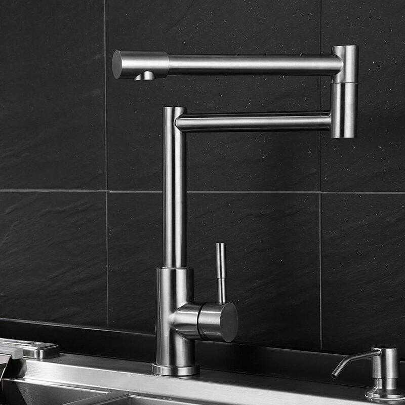 Modern Deck Mount Dual Joint Kitchen Faucet by Zenvida