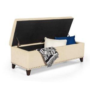 narelle upholstered flip top storage bench, bedroom storage bench