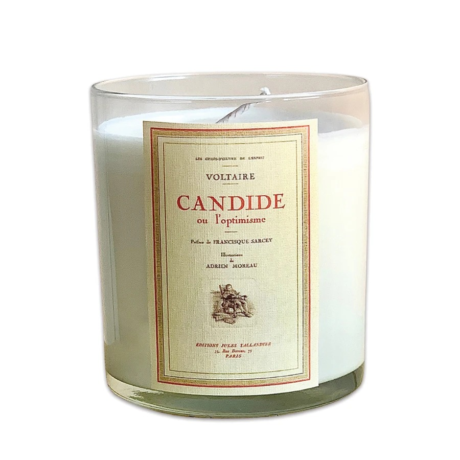 Noble Objects white candle candide label, best gifts for book lovers
