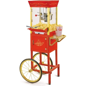 Nostalgia concession popcorn cart, how to host a Halloween movie night