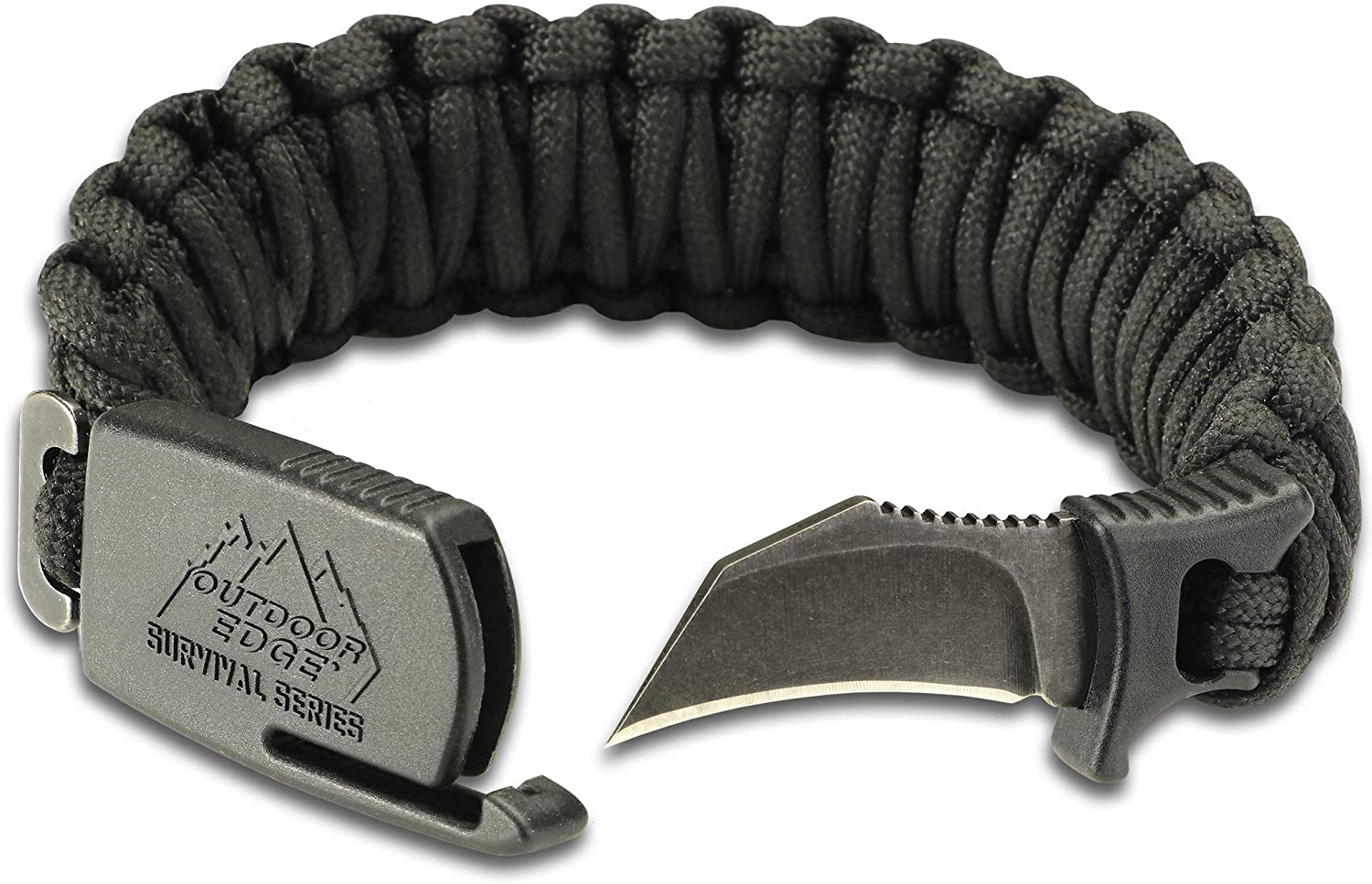 Black Outdoor Edge ParaClaw Paracord Survival Bracelet with 1.5-inch knife