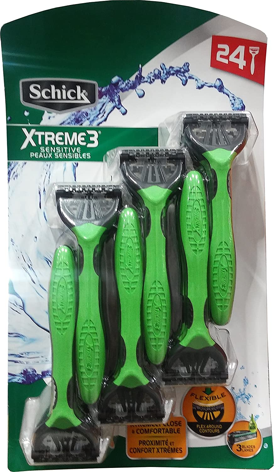 Schick Xtreme 3 Blade Razor for Sensitive Skin, pack of 24