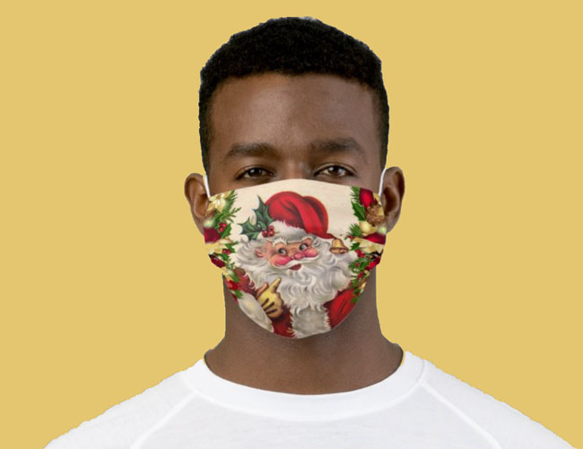 man wearing Christmas face mask